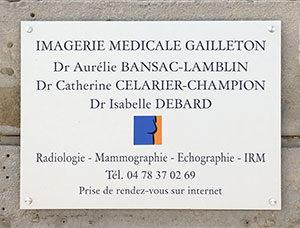 Plaque d'entrée de l'Imagerie Médicale Gailleton
